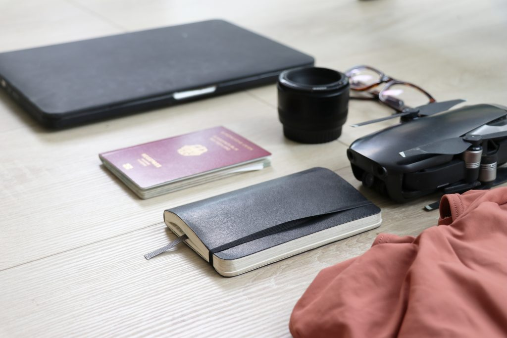 neatly arranged items for travel