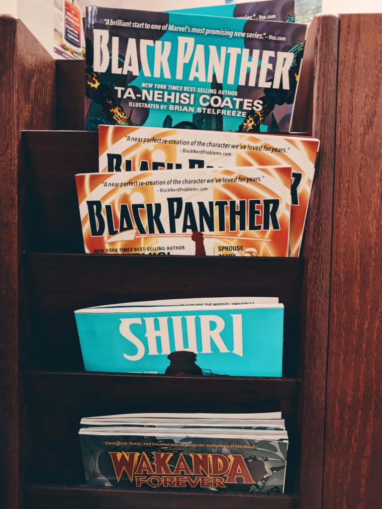 Rack with Black Panther comics