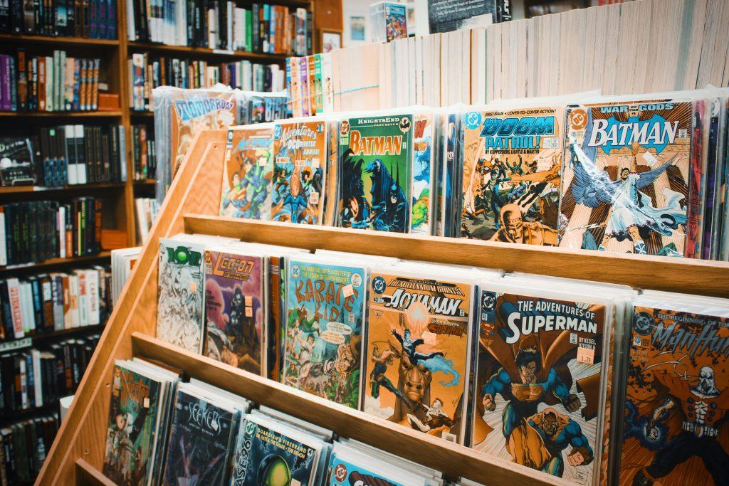 Rack of classic comic books