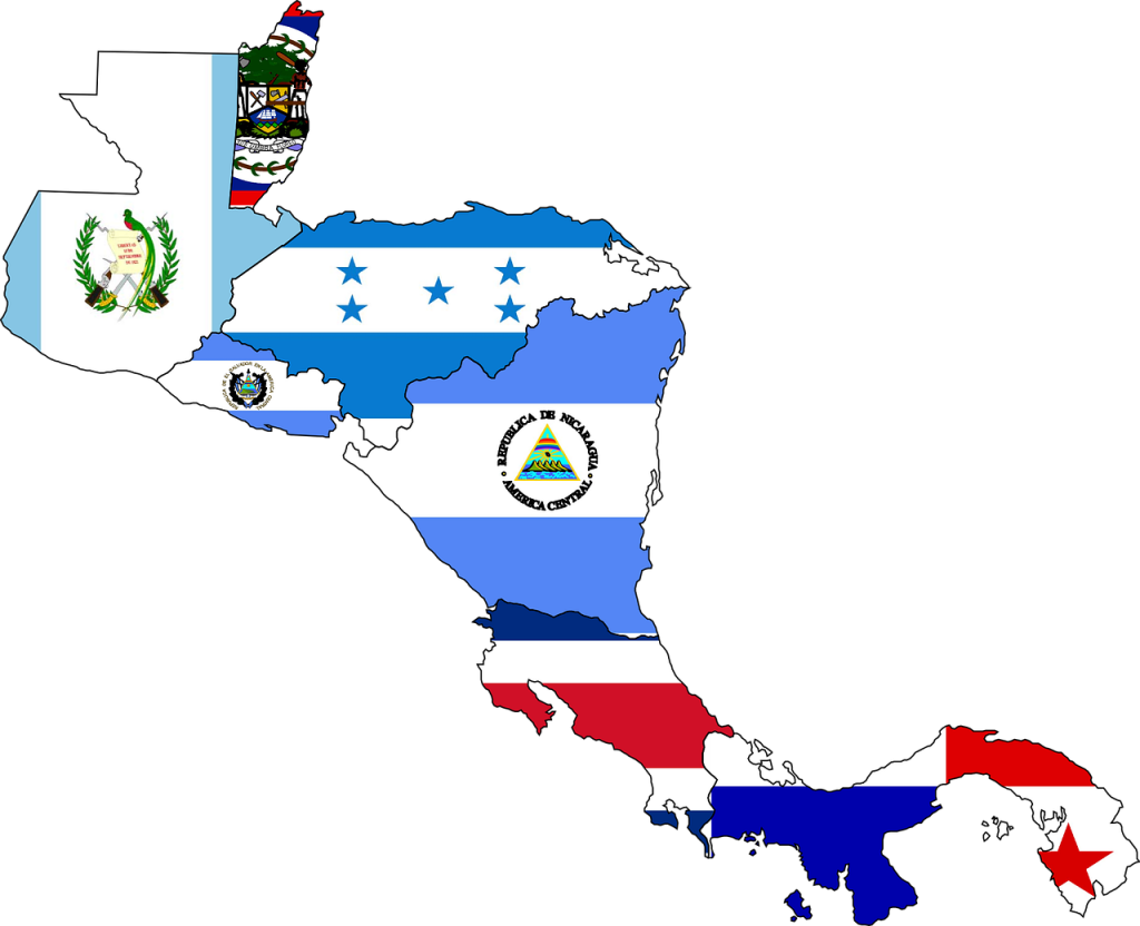the flags of Central America in the shape of Central America