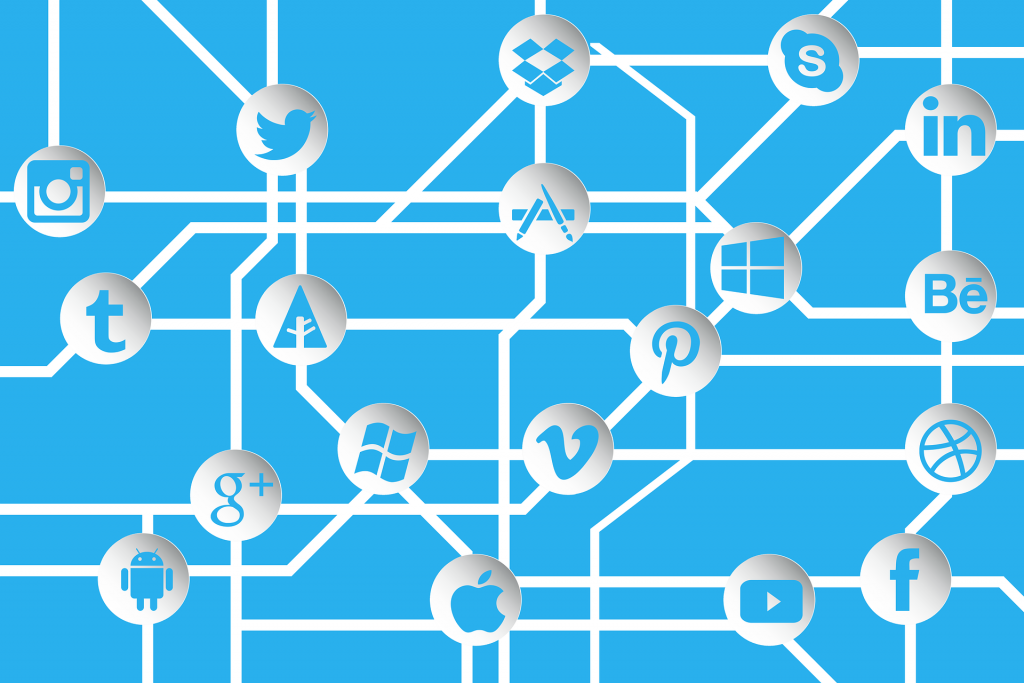 social media icons in a network