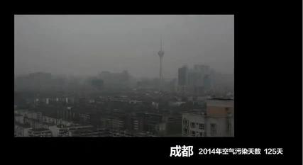 Screenshot from the documentary film Under the Dome by Chai Jing, showing pollution in Chengdu in 2014.