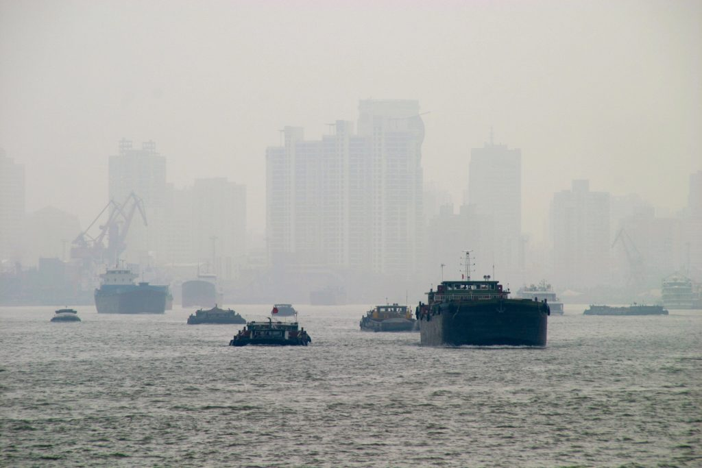 Air pollution shown from a harbor in Shanghai.