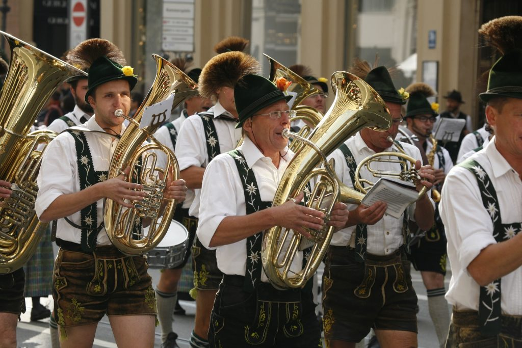 Oktoberfest band and traditional clothing