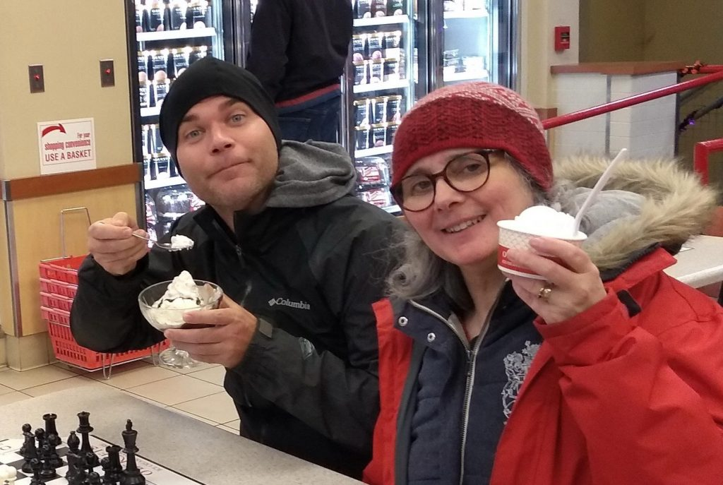 Adam Navis and Katy Blake eating ice cream (not their hats)