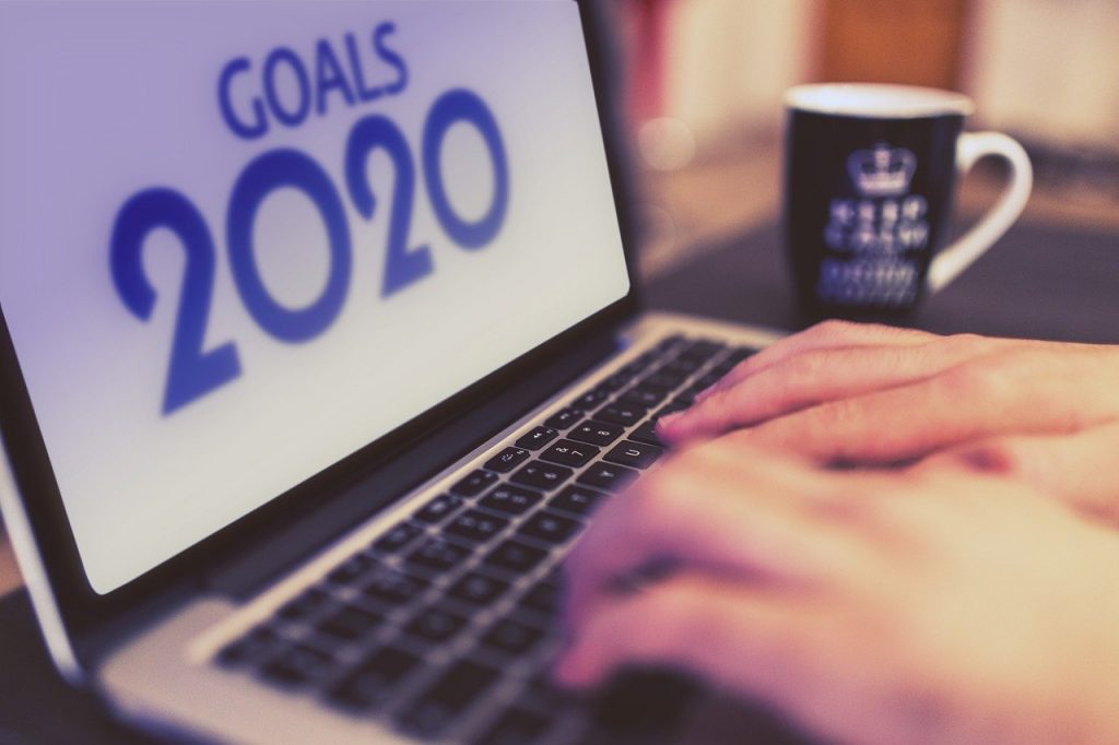 computer that says goals for 2020