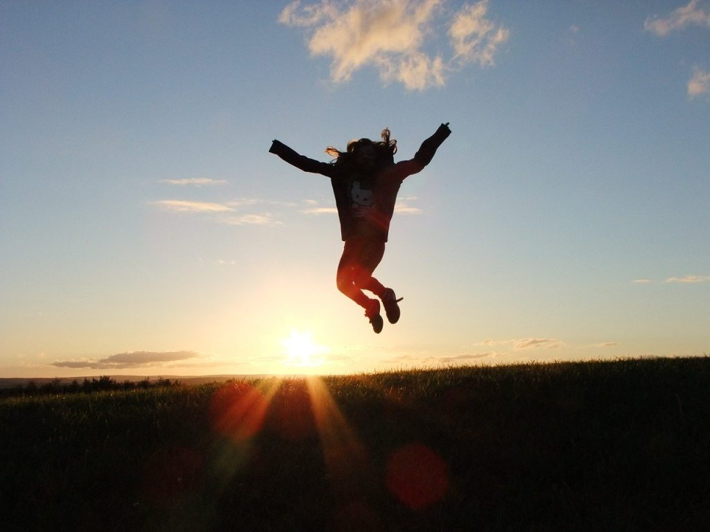 a girl jumping