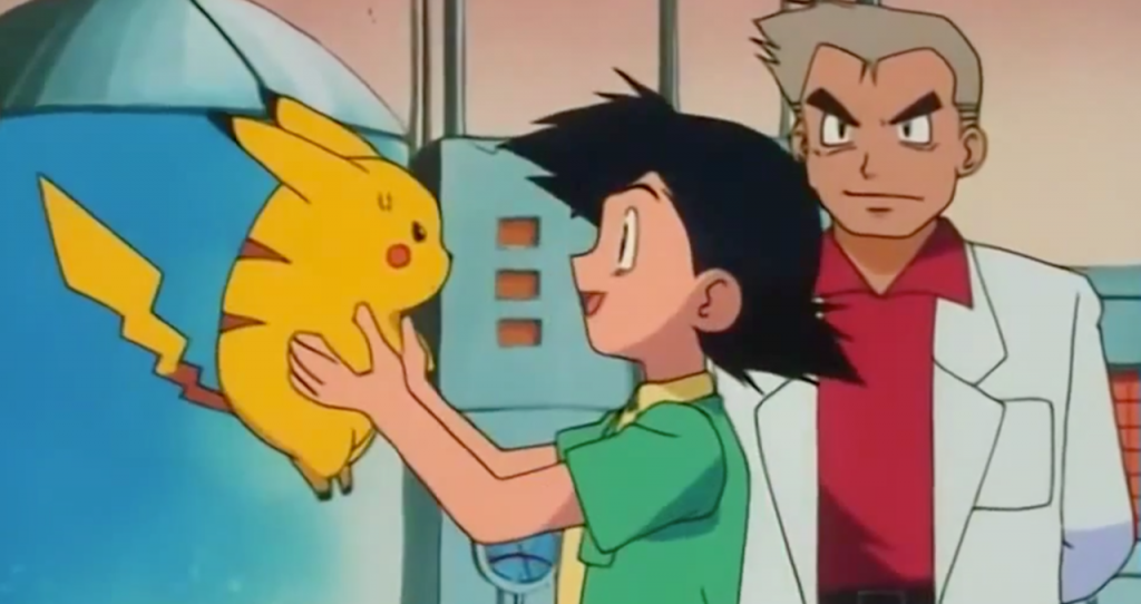 Ash Ketchum meets Pikachu; still from the Pokemon Television Program