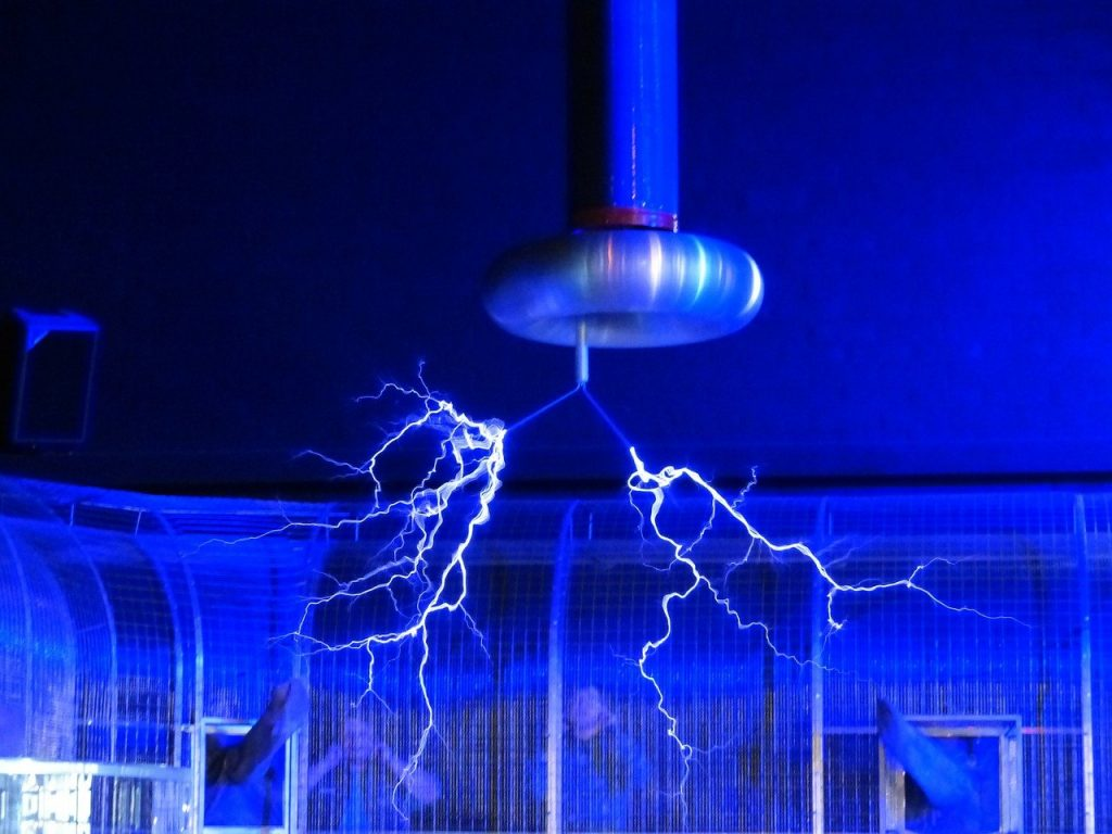 A Tesla coil producing electricity