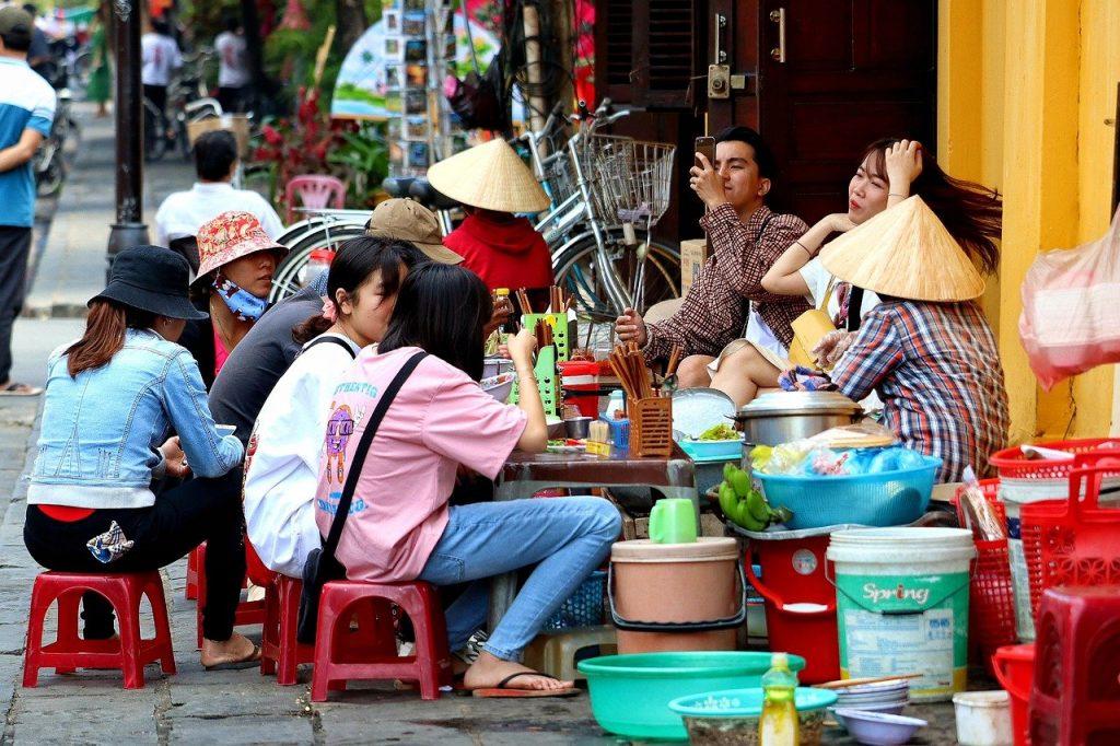 Enjoying street food in Hanoi, Vietnam