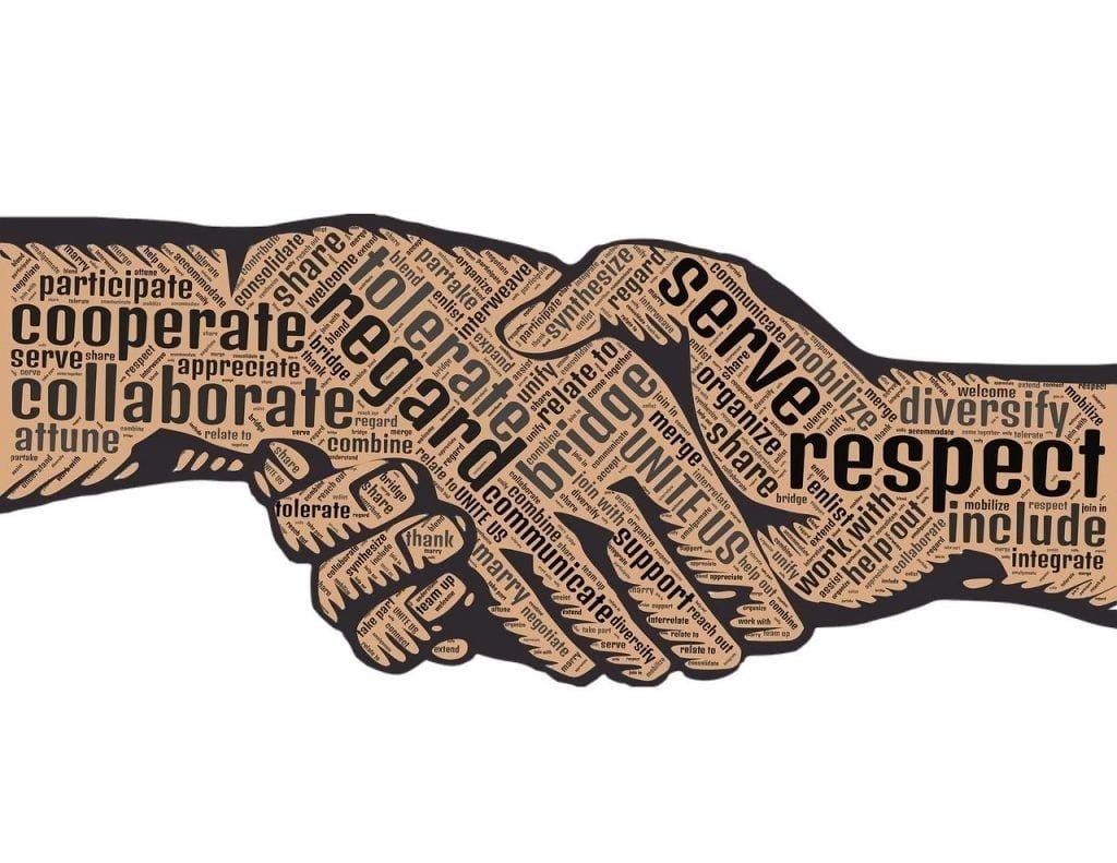 illustration of hopeful words on shaking hands