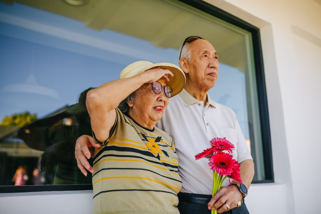 An older couple spend some time outside;