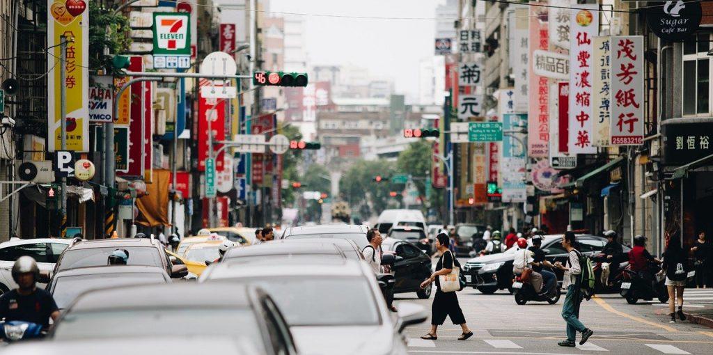 A busy street in Teipei;