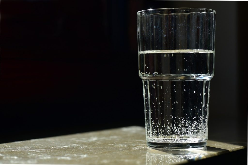 A glass of water;