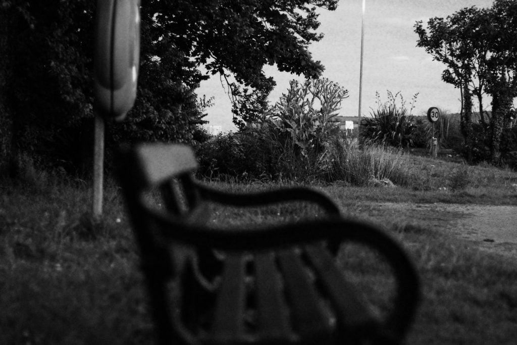 An empty bench;