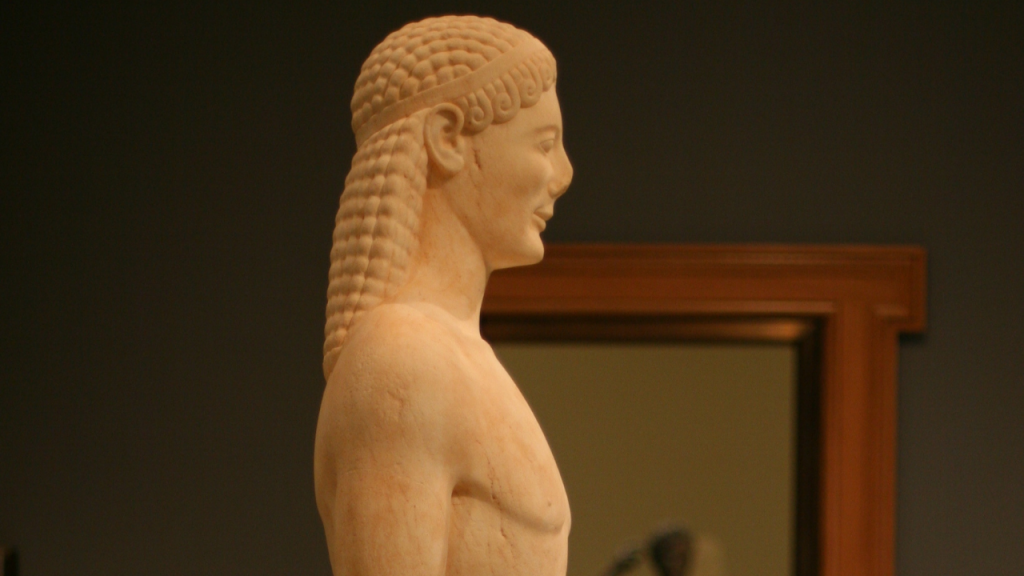 The Kouros Statue at the Getty Museum; This photograph has been cropped.