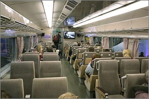 Inside the Shinkansen train in Japan, 2010